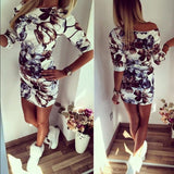 Women Summer Vintage Dress Middle Sleeve Floral Printed Ladies Dress Bodycon Casual Elegant Mini Pencil Dress Women-ALL IN ONE,,..-LIMIT BREAKER!