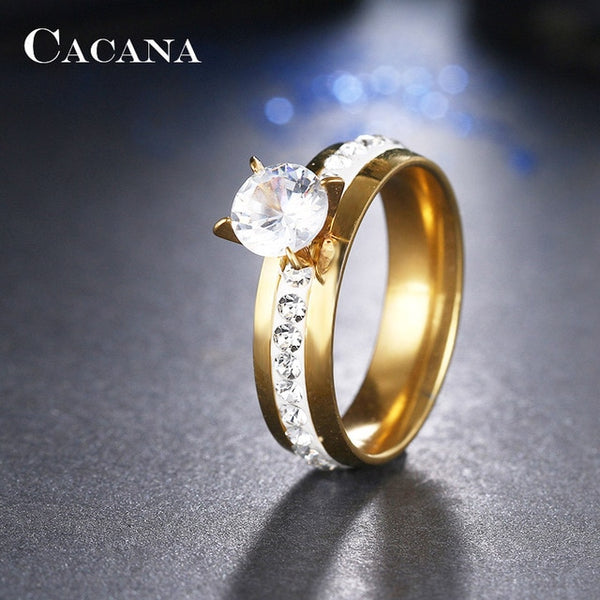 CACANA Titanium Stainless Steel Rings Top Quality Rings For Women Fashion Jewelry Wholesale NO.R110