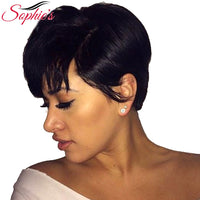 Sophie's Short Bob Wigs For Black Women Non-Remy Straight Human Hair Wig 4inch 100% Human Hair Machine Made No Smell H.NINA Wigs