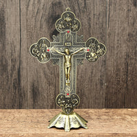 Church Relics Crucifix Jesus Christ On The Stand Cross Wall Crucifix Antique Home Chapel Decoration Wall  21cm Figurines