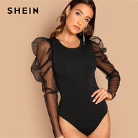 SHEIN Night Out Modern Lady Black Contrast Mesh Gigot Sleeve Mid Waist Skinny Bodysuit Women Autumn Plain Elegant Bodysuits