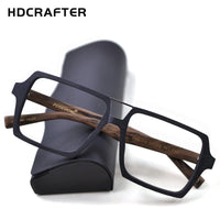 HDCRAFTER Oversized Vintage Square Glasses Frame with Clear Lens Women Men Wood Optical Eyeglasses Prescription Frames Spectacle