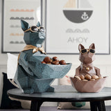 Cat Dog Figurines Resin Moden Crafts Animals Miniature cute ornaments for Home office decoration Storage bowl Carved Collectible