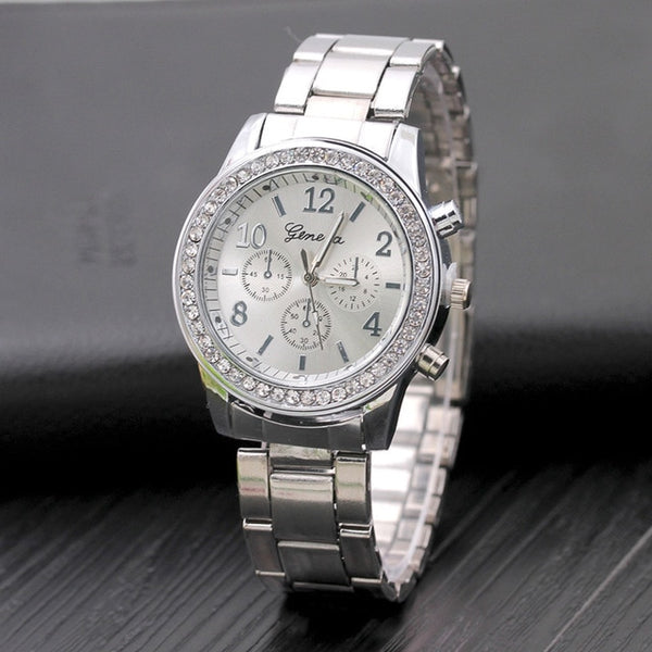New Watch Women Classic Geneva Luxury Ladies Watches Womens Full Steel Crystal Relogio Feminino Reloj Mujer Metal Wristwatch