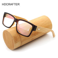 HDCRAFTER Wooden Eyeglasses Frames Men Oversized Bamboo Glasses Frame Rectangle Spectacles Reading Optical Glasses Frames