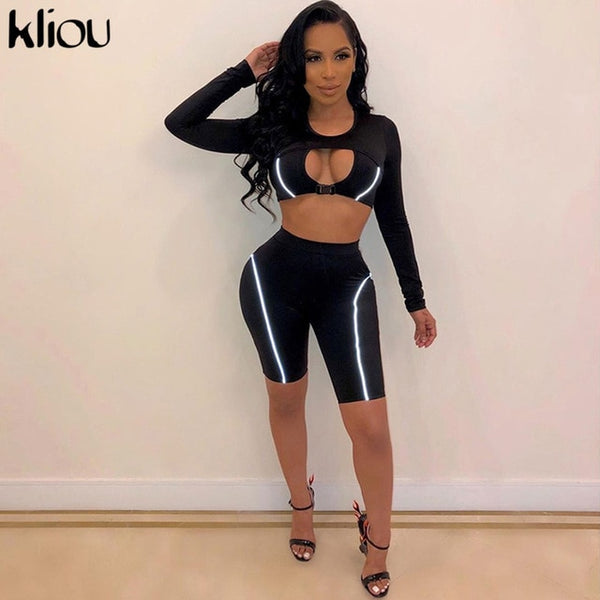 Kliou women slim skinny two pieces set Reflective striped patchwork outfit 2019 hollow out button crop top with shorts tracksuit