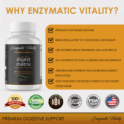 Digestive Matrix Enzyme Supplement Now On Amazon Also - Enzymatic Vitality
