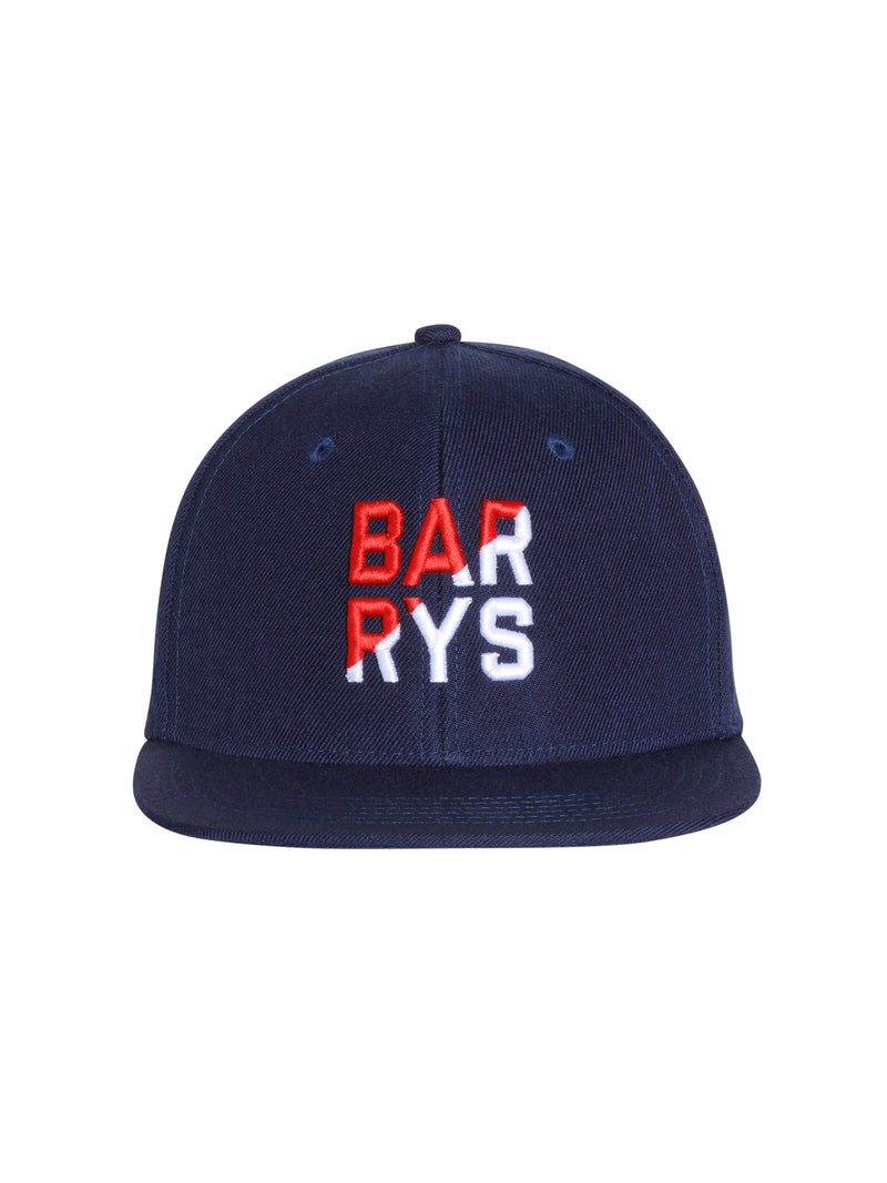 front view of navy blue flat bill hat with barry's written in red and white on front