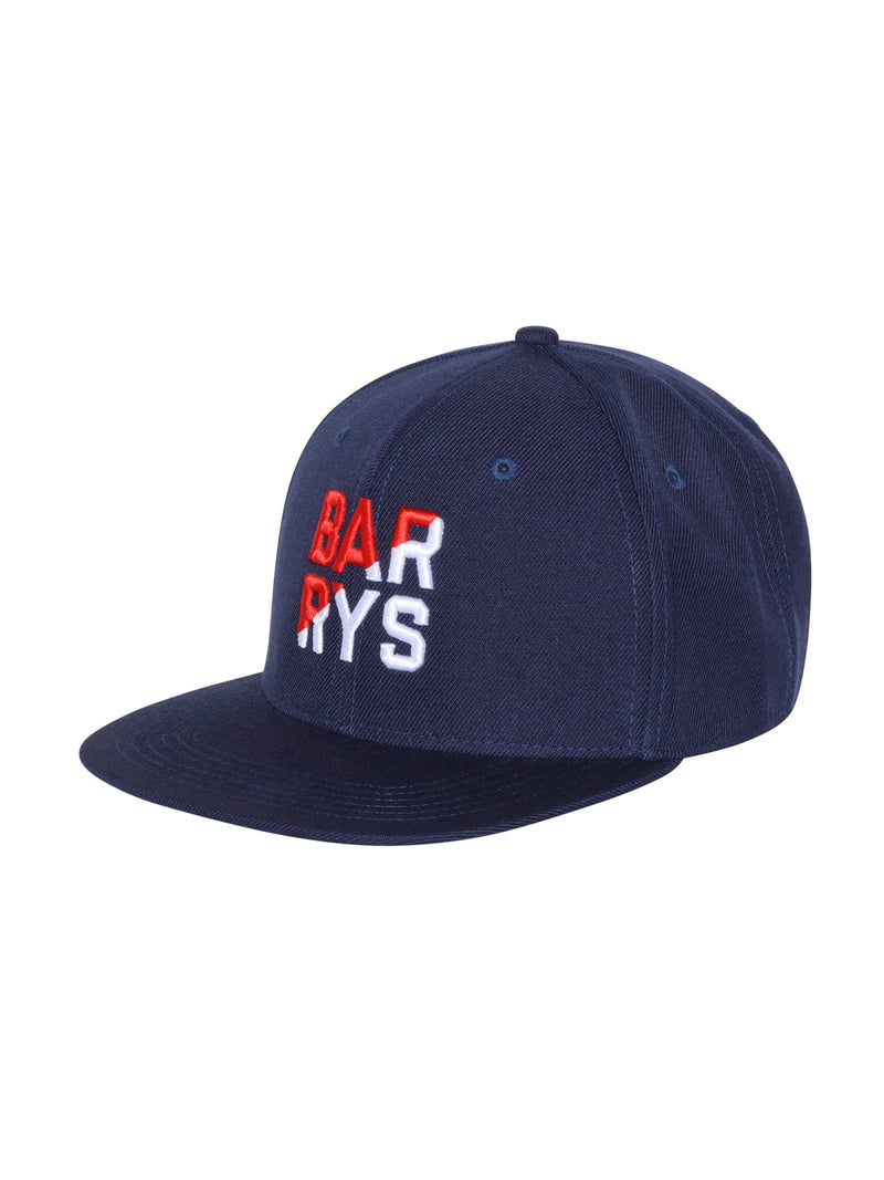 side view of navy blue flat bill hat with barry's written in red and white on front