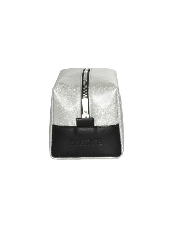 side view of silver glitter makeup bag