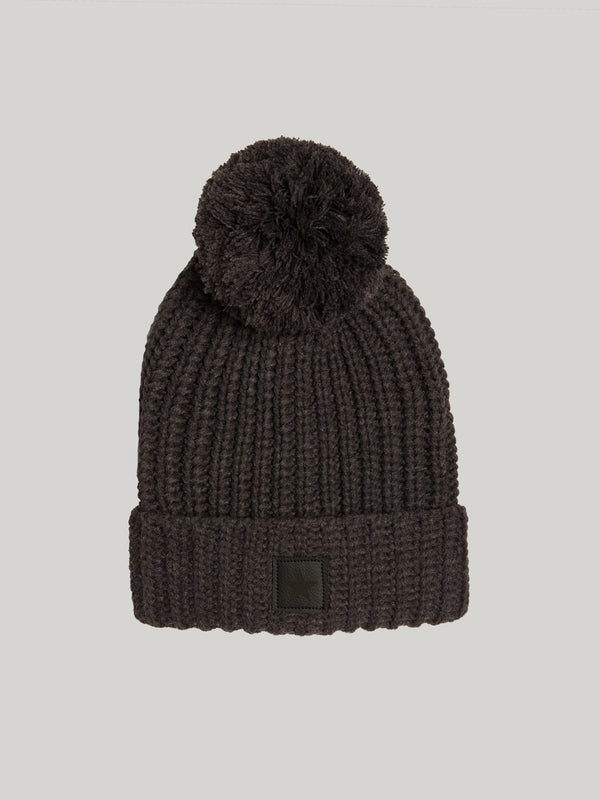 BARRY'S CHARCOAL KNIT POM BEANIE