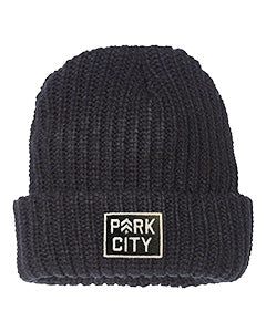 BARRY'S PARK CITY BLACK RIBBED BEANIE