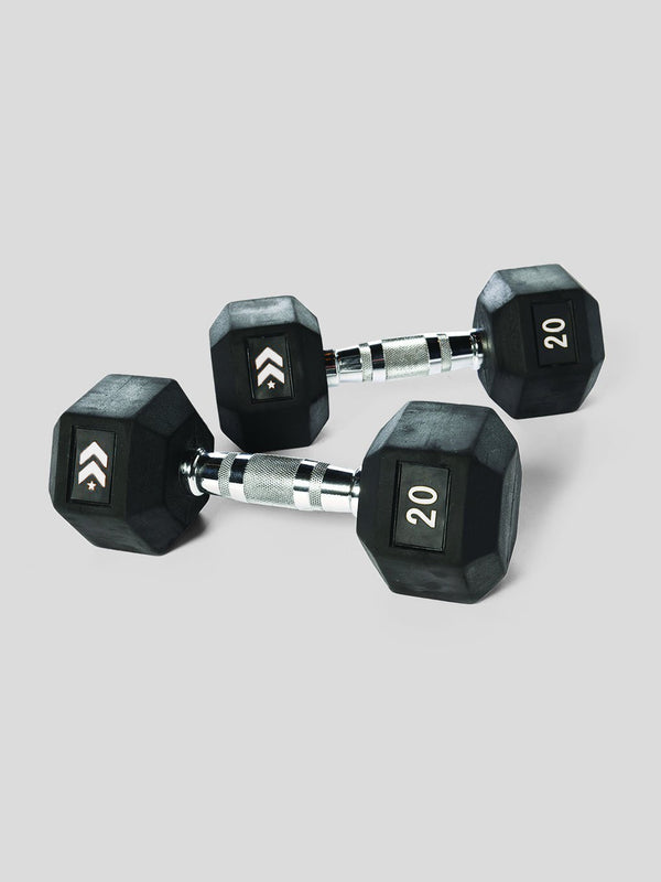 BARRY'S RUBBER DUMBBELL SET - 20 LB
