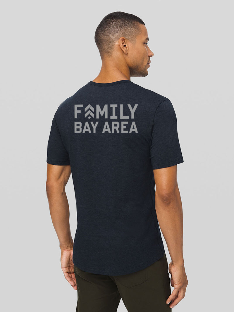 LULULEMON // BARRY'S FAMILY HEATHERED NAVY LOCATION SPECIFIC 5 YEAR BASIC TEE
