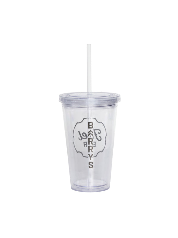 clear plastic travel tumbler cup with strap with fuel bar logo