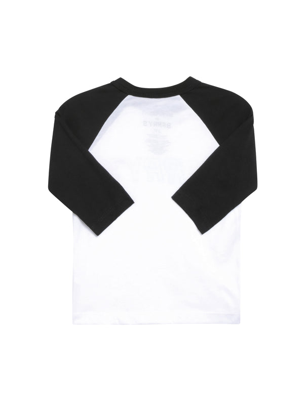 Back of baseball tee with 3/4 length black sleeves and white back.