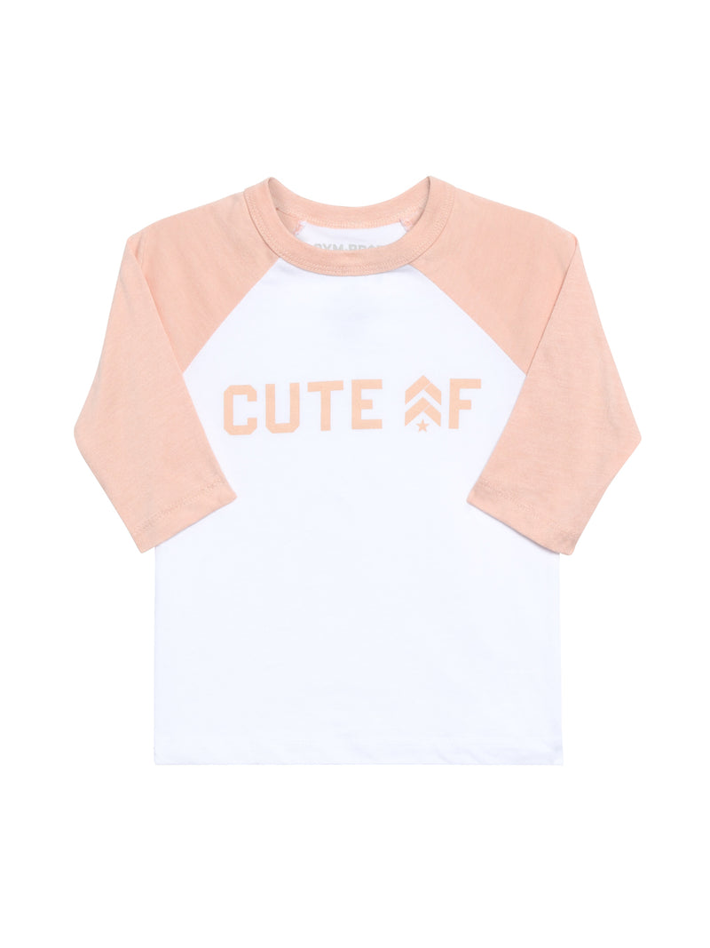 "Front view of a baseball tee that says ""Cute AF"" across the chest with 3/4 length pink sleeves"