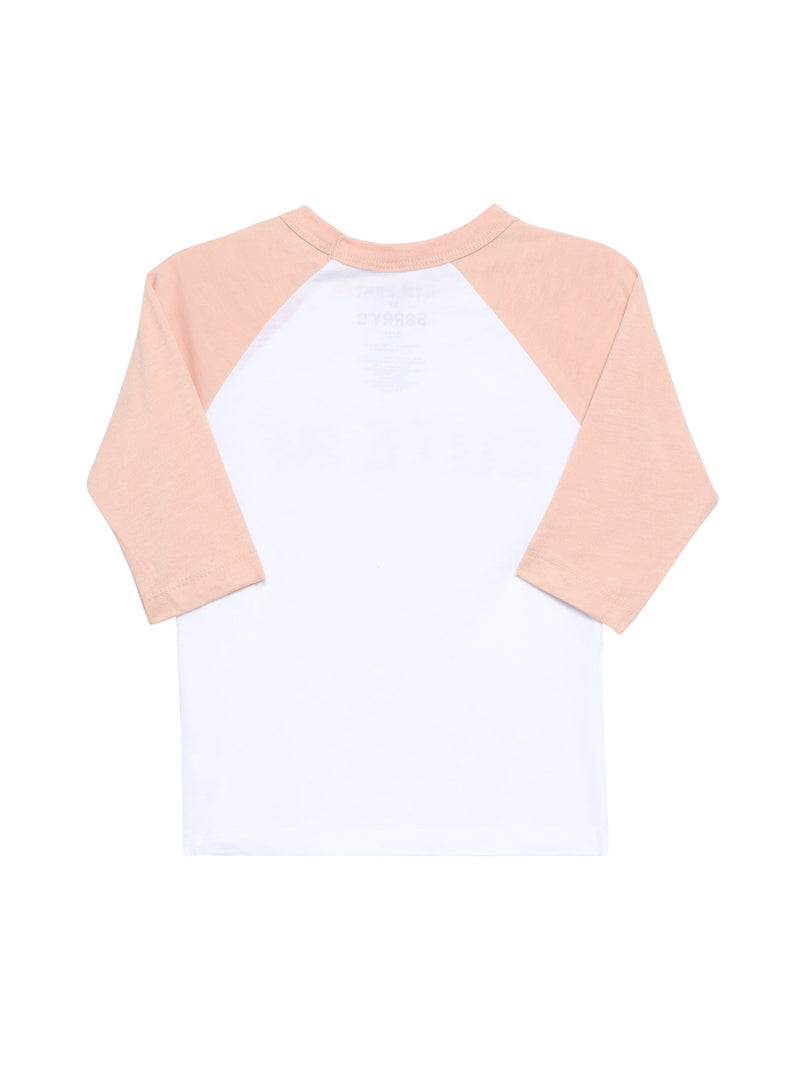 Back view of a baseball tee with 3/4 length pink sleeves and white back