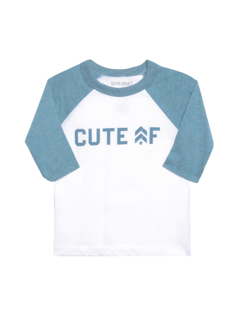 "Front view of a baseball tee that says ""Cute AF"" across the chest with 3/4 length blue sleeves"