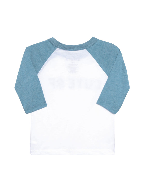 Back view of baseball tee with 3/4 length blue sleeves and white front