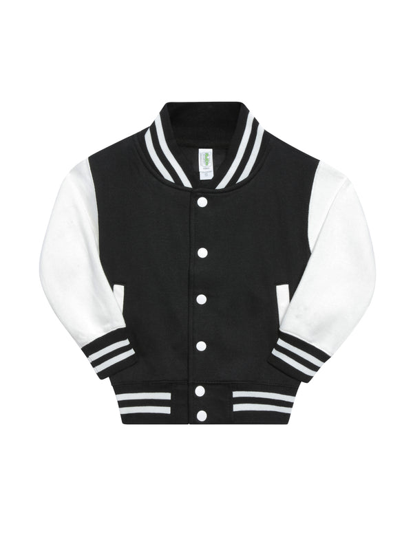 Front view of a baseball jacket with black chest, white sleeves and black and white striped wrist cuffs