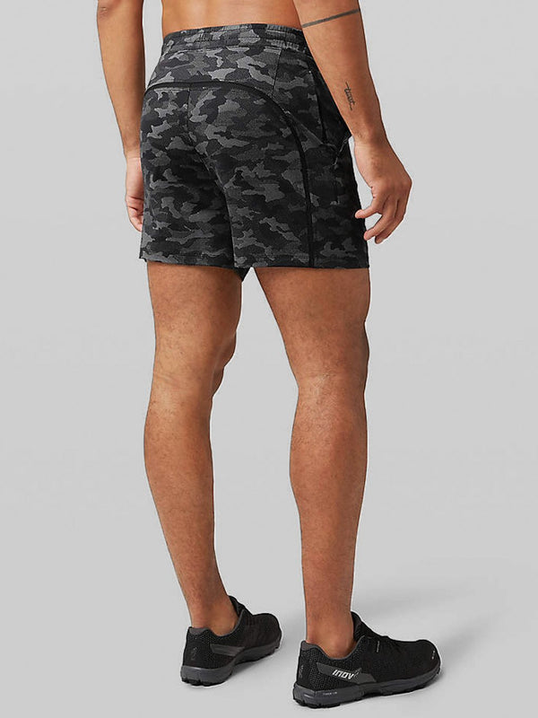 LULULEMON CAMO BLACK PACEBREAKER SHORT 5 IN LINERLESS