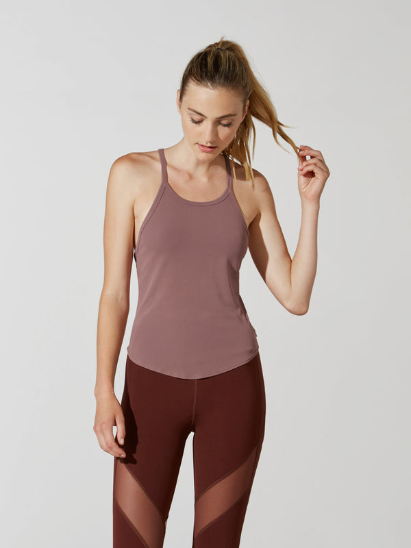 LULULEMON X BARRY'S RED DUST RIBBED TANK