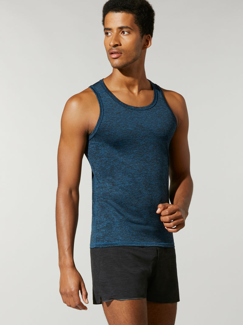 front shot of model wearing the FIT LIGHTNING A/C TANK in muted blue