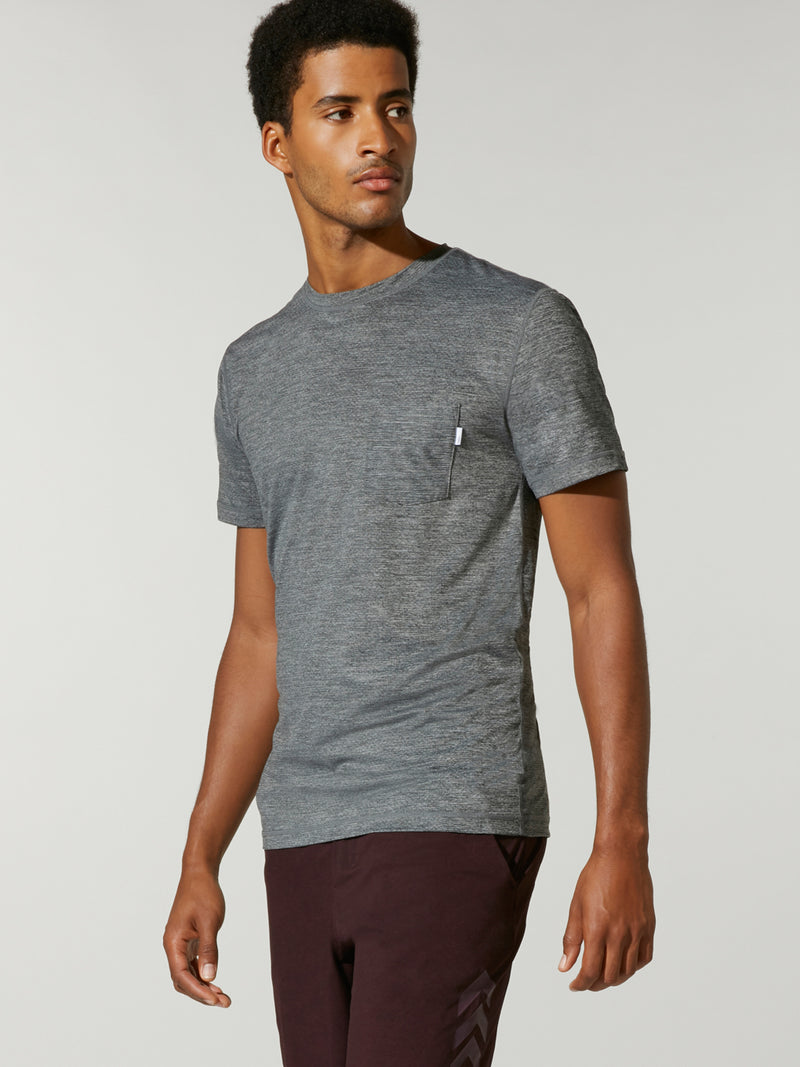 front view of male model in grey athletic t-shirt and black shorts