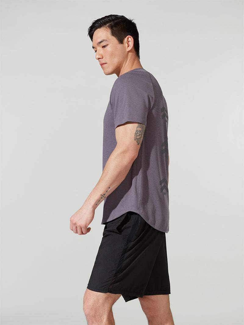 LULULEMON // BARRY'S GRAPHITE PURPLE CONFLUX SHORT SLEEVE