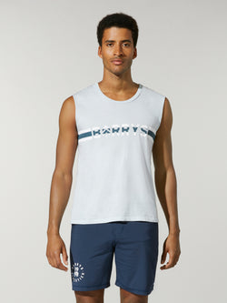 front view of male model in light blue muscle tank with Barry's written in blue and white stripe across chest