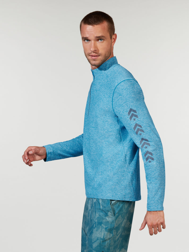LULULEMON // BARRY'S VIVID AQUA SURGE WARM HALF ZIP JACKET