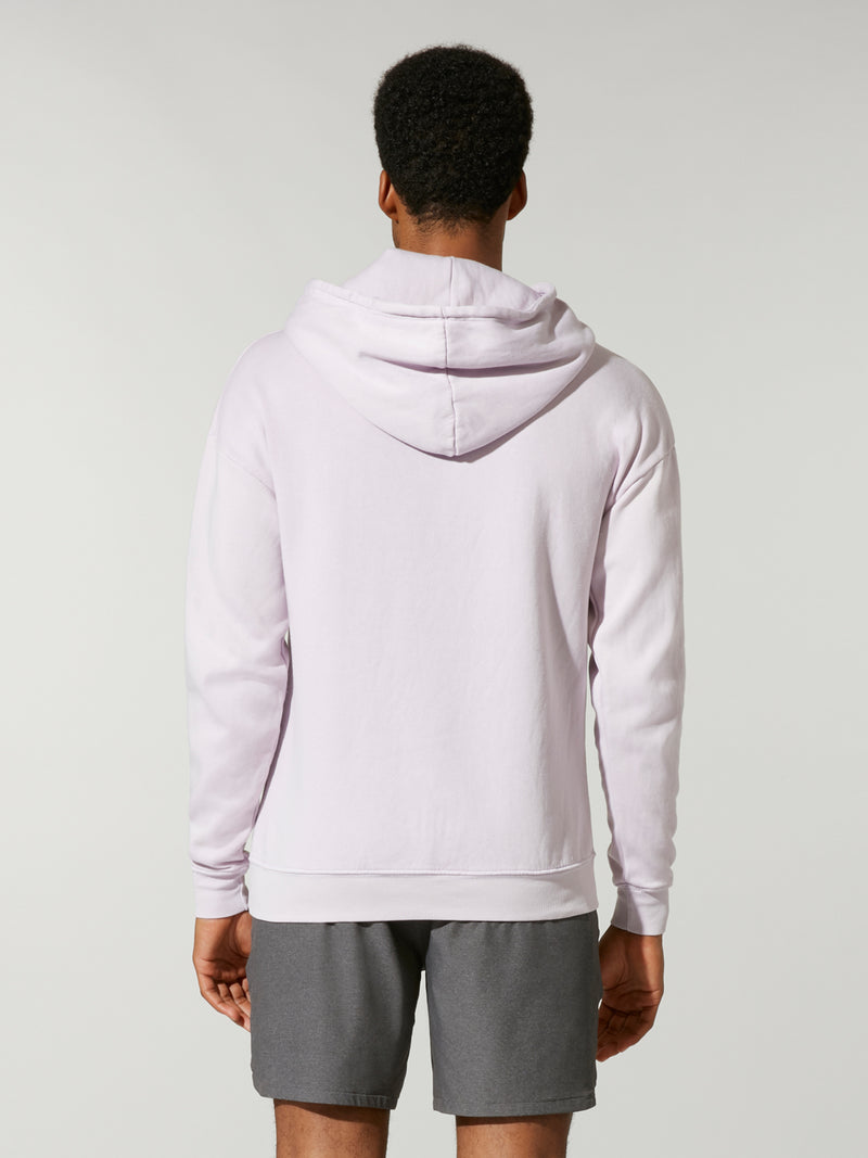 back view of male model in lavender fleece hoodie and grey shorts