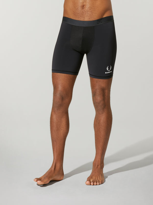 front view of shirtless male model wearing black compression shorts