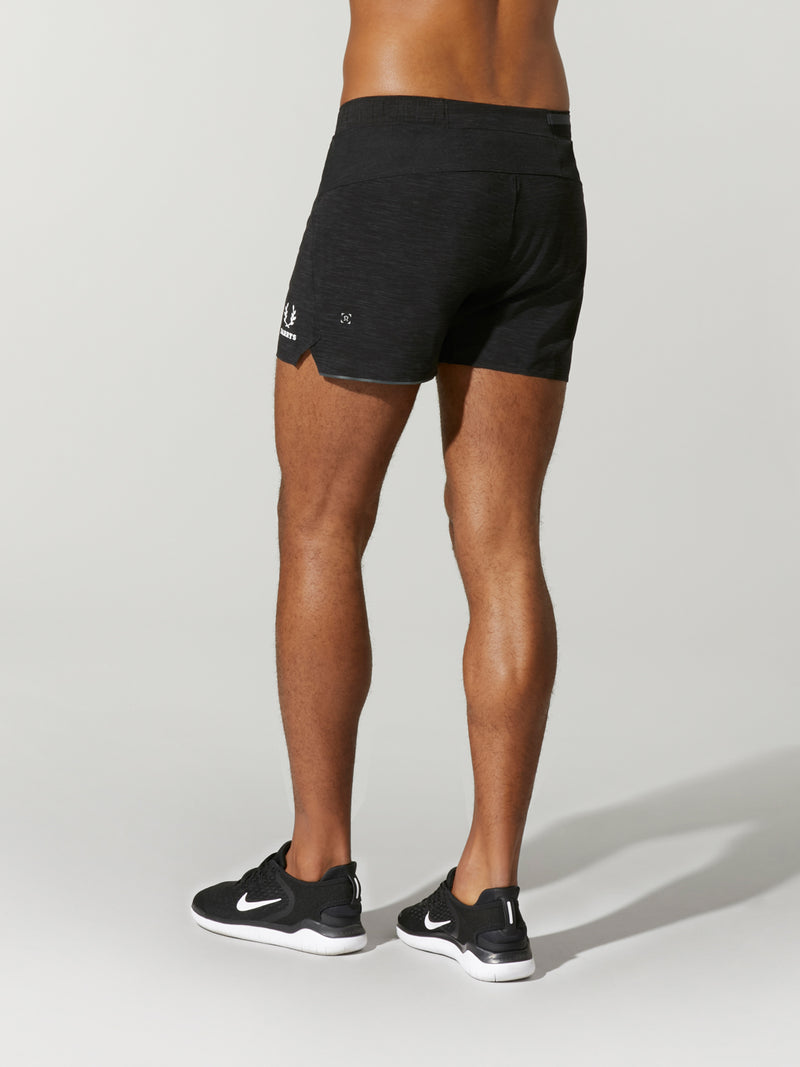 back view of male model in black workout shorts and black sneakers
