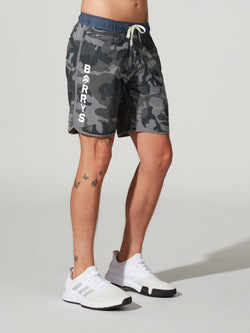 VUORI GREY CAMO BANKS SHORT