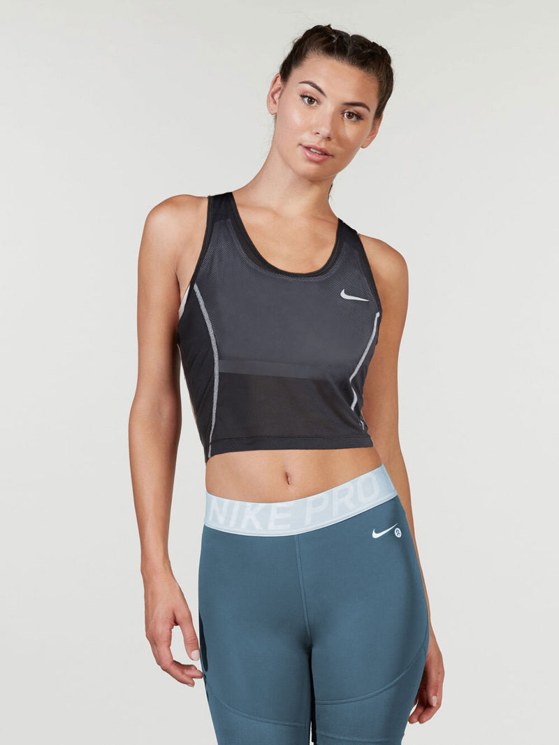 NIKE BLACK MILER CORE CROP TANK