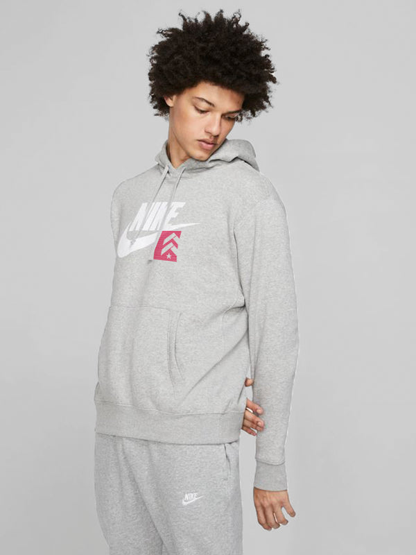 NIKE NSW CLUB HOODIE HEATHER GREY RED