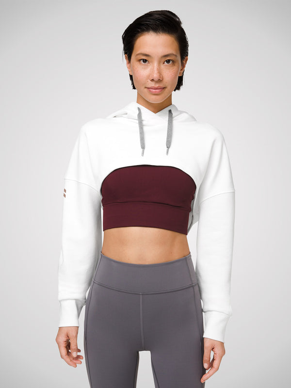 LULULEMON // BARRY'S LIGHT IVORY NEW AMBITION CROPPED HOODIE