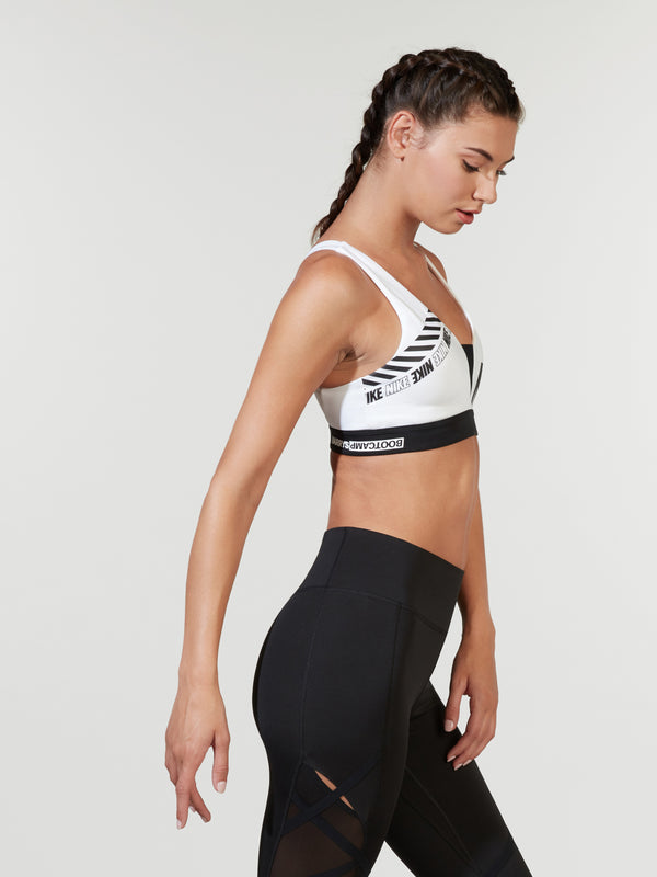 NIKE X BARRY'S WHITE SPORT DISTORT INDY PLUNGE BRA