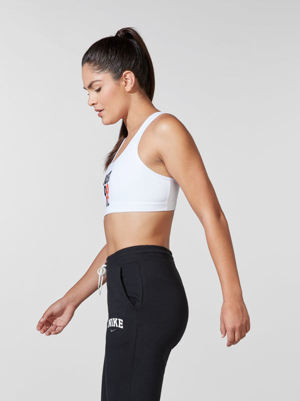 NIKE X BARRY'S WHITE REBEL SWOOSH BRA