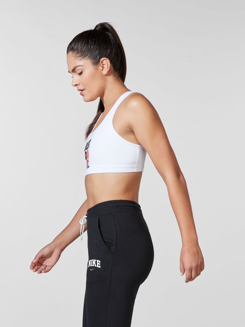 NIKE WHITE REBEL SWOOSH BRA