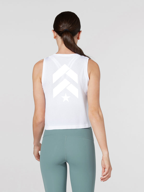 LULULEMON WHITE BREEZE BY MUSCLE CROP TANK
