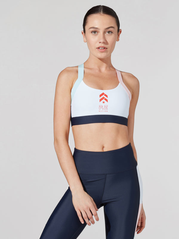 PE NATION X BARRY'S NAVY BAR DOWN SPORTS BRA