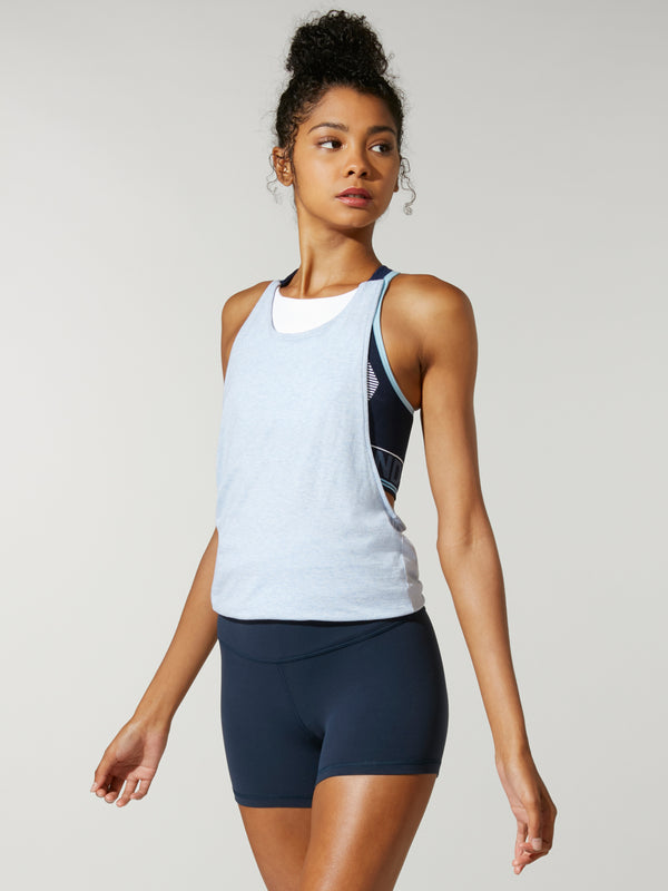 Model wearing light blue racerback tank top with shorts