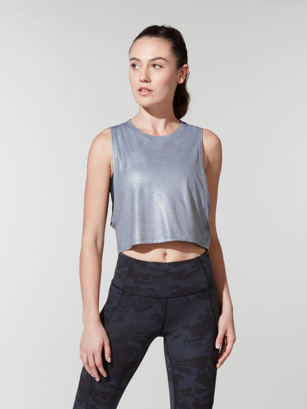 LULULEMON // BARRY'S HEATHER FOIL MUSCLE LOVE CROP TOP
