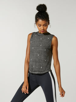 4c8d6a2e9cb4e front view of model in grey muscle tank with white anchor print and black  leggings with