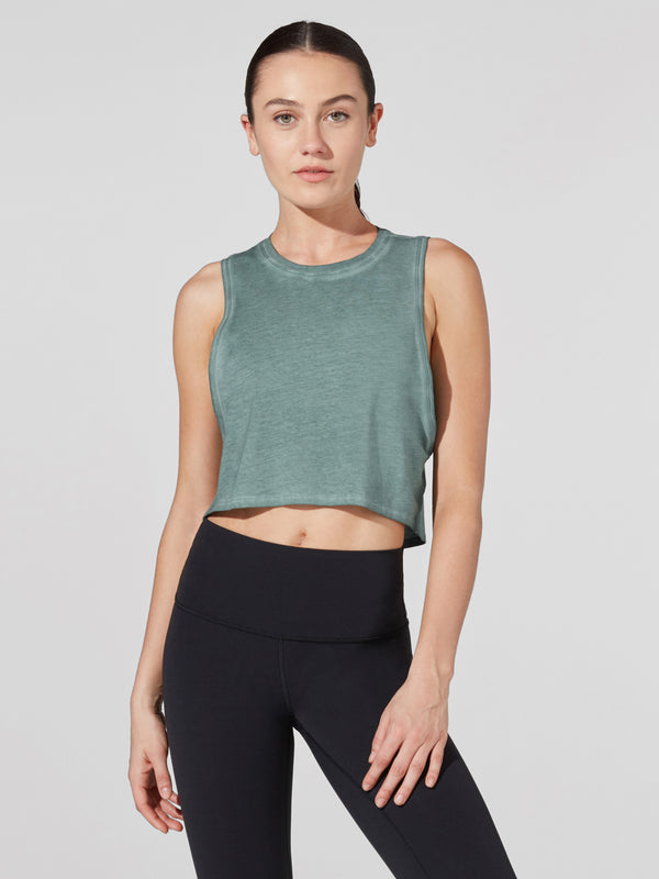 LULULEMON // BARRY'S WASHED TIDEWATER TEAL CUT BACK CROP TANK