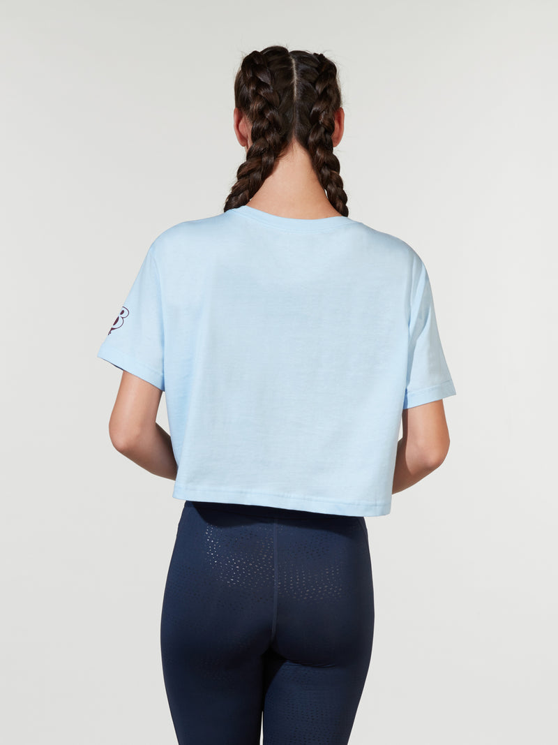 NIKE X BARRY'S CELESTINE BLUE ESSENTIAL CROPPED TEE