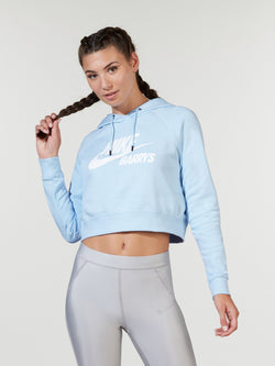 NIKE X BARRY'S CELESTINE BLUE ESSENTIAL CROPPED HOODIE